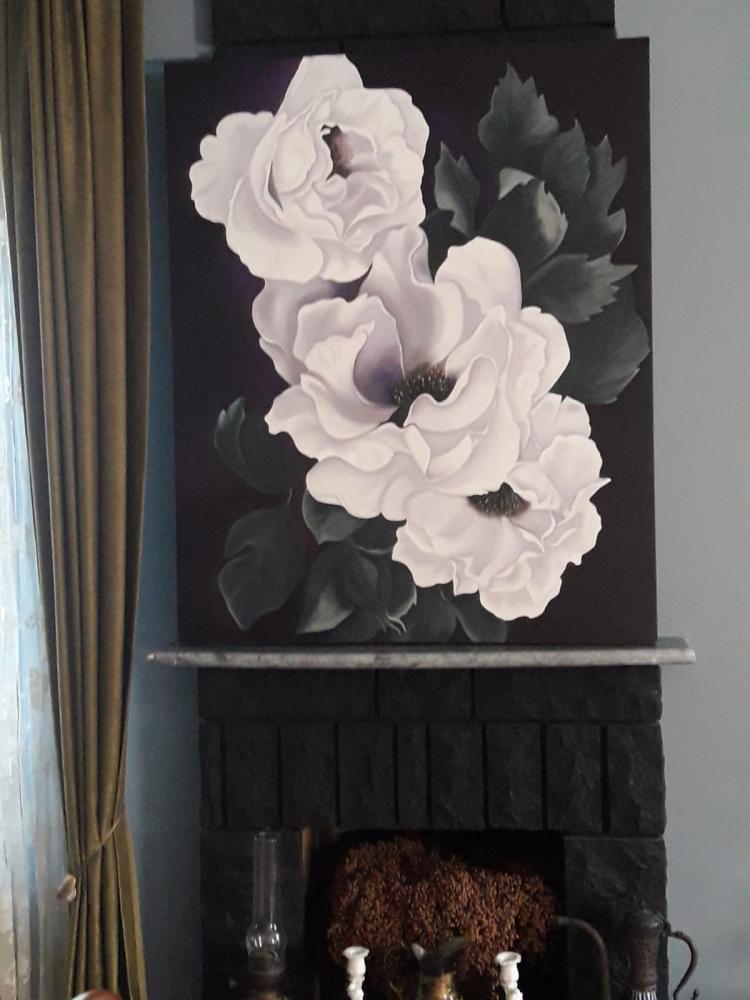 Beyaz Katmerli Cicek, Original Paintings, , kanvas tablo, canvas print sales