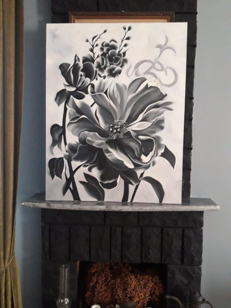 Siyah Beyaz Cicek, Orijinal Tablolar, , kanvas tablo, canvas print sales