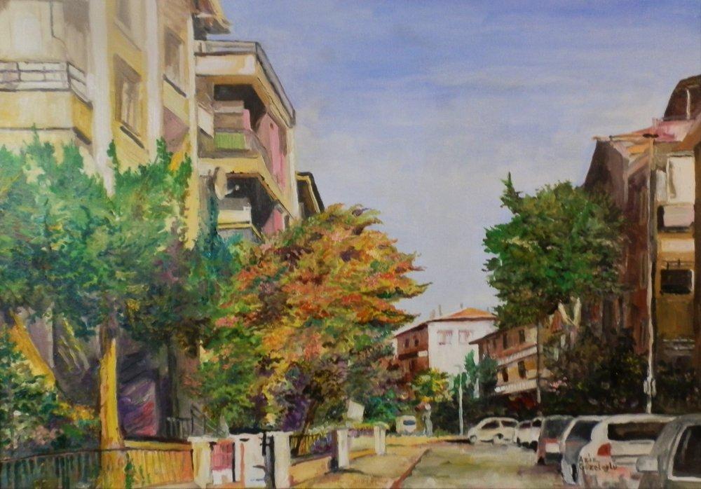 Ankara, Aydinlikevler Cagri Street, Original Paintings, , kanvas tablo, canvas print sales