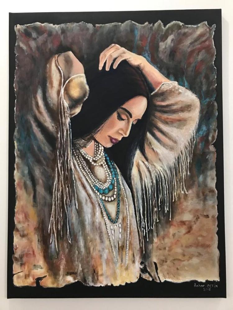 Kızılderili kız, Orijinal Tablolar, , kanvas tablo, canvas print sales