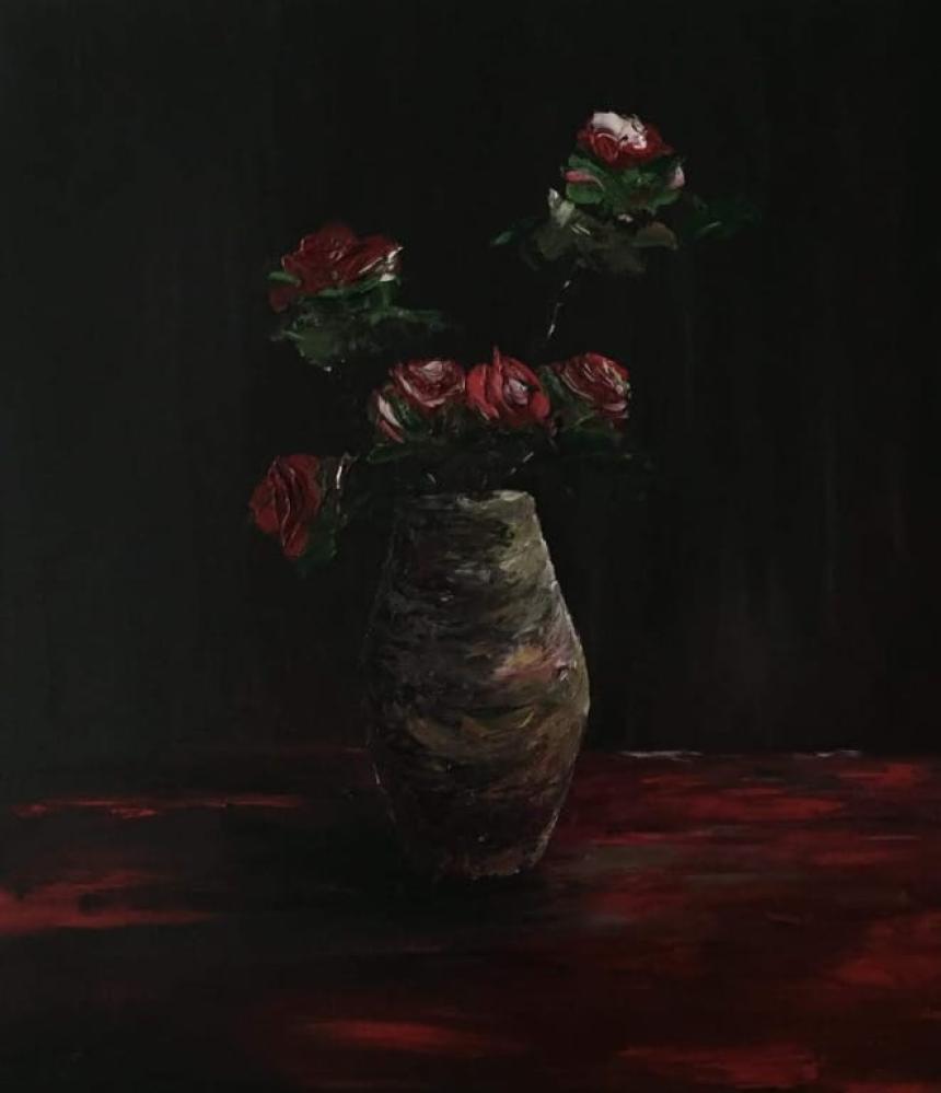 Roses in Vase, Original Paintings,