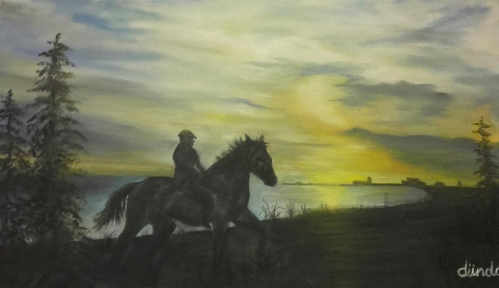 Evening and passenger, Original Paintings, , kanvas tablo, canvas print sales