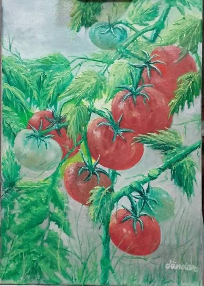 TOMATOES Oil Painting on Canvas, Original Paintings, Cahit Dündar, kanvas tablo, canvas print sales