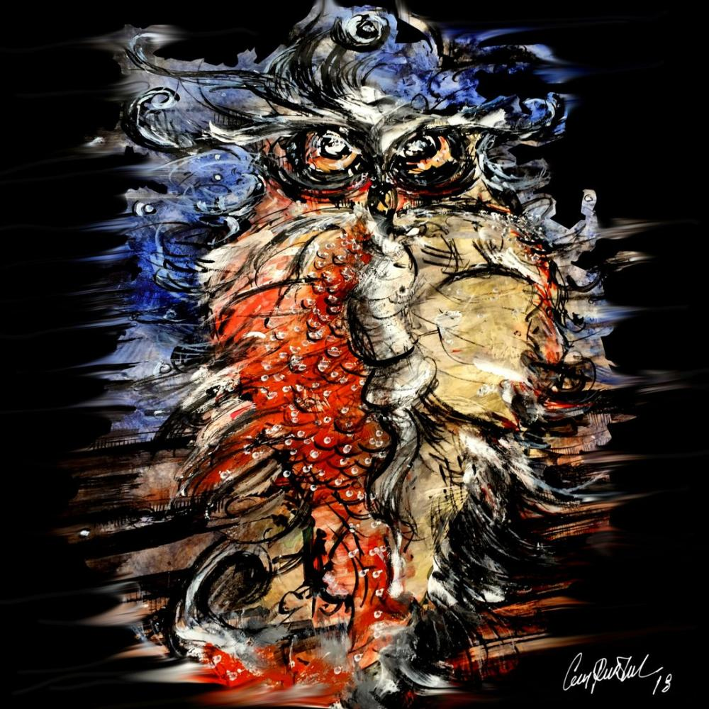 Napolyon Owl, Original Paintings, , kanvas tablo, canvas print sales