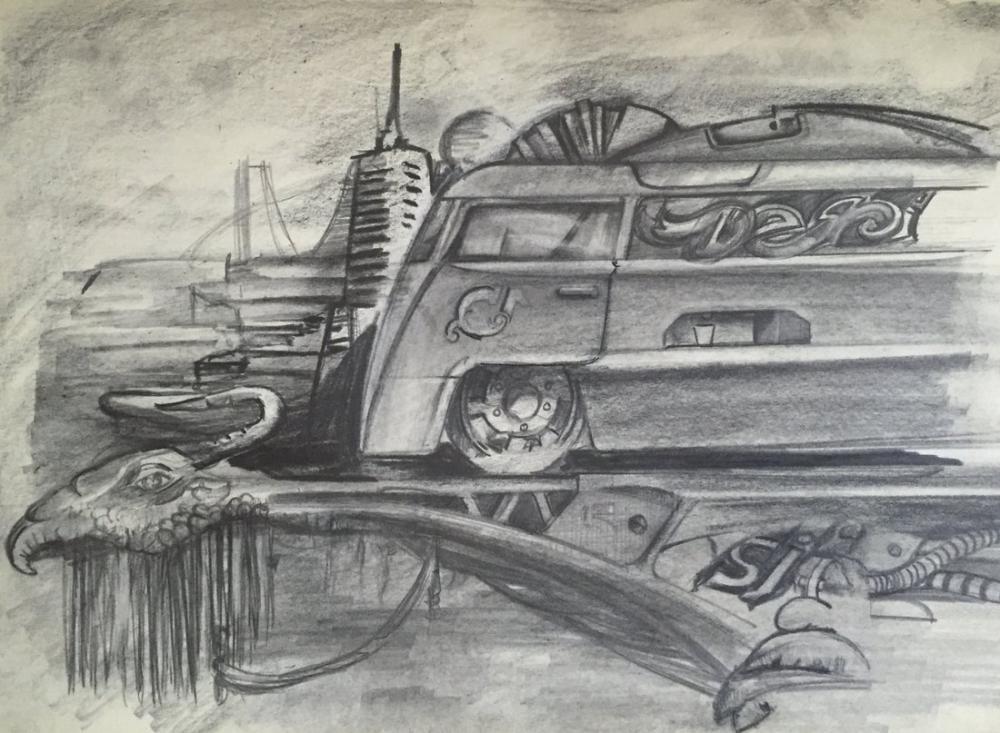 Vw bus dragon, Original Paintings, , kanvas tablo, canvas print sales