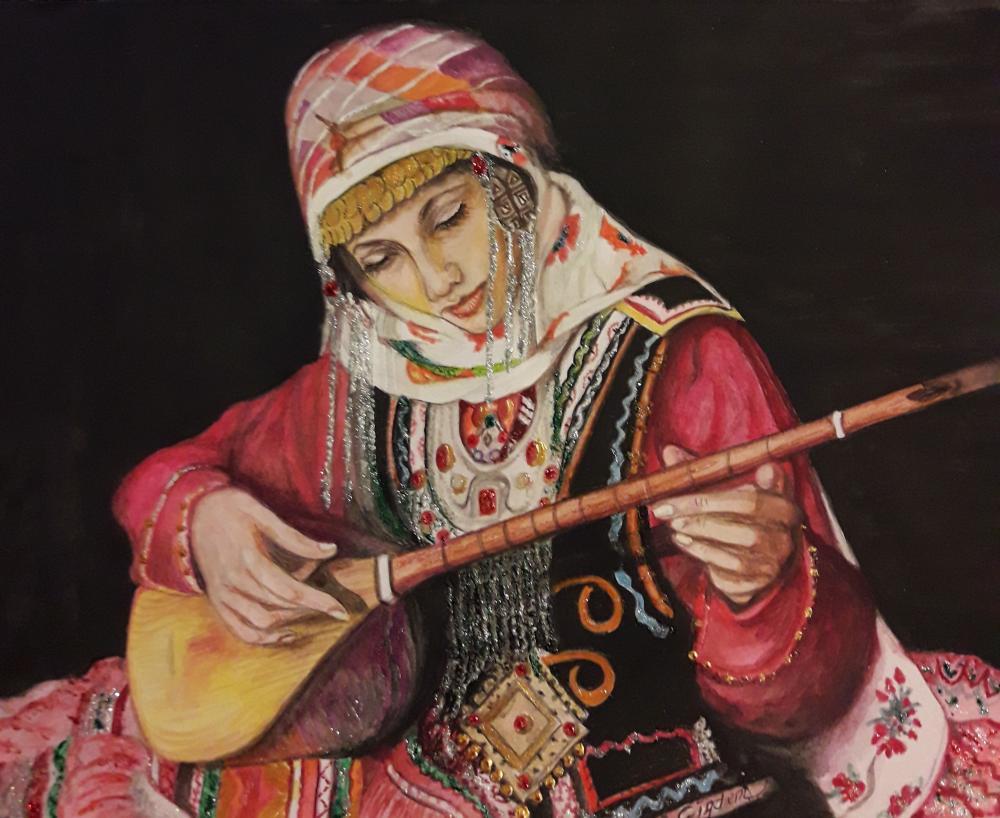 My heart is stuck on the strings of my instrument, Original Paintings, , kanvas tablo, canvas print sales