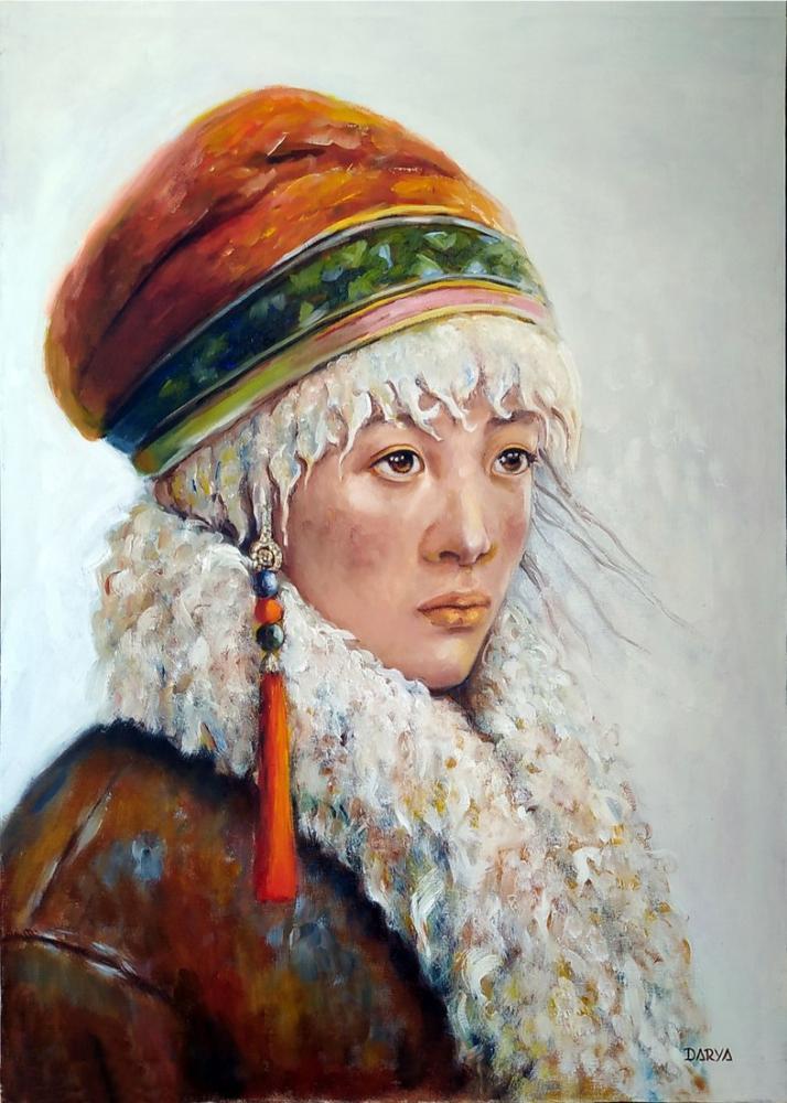 Woman from Central Asia to Anatolia, Original Paintings, , kanvas tablo, canvas print sales