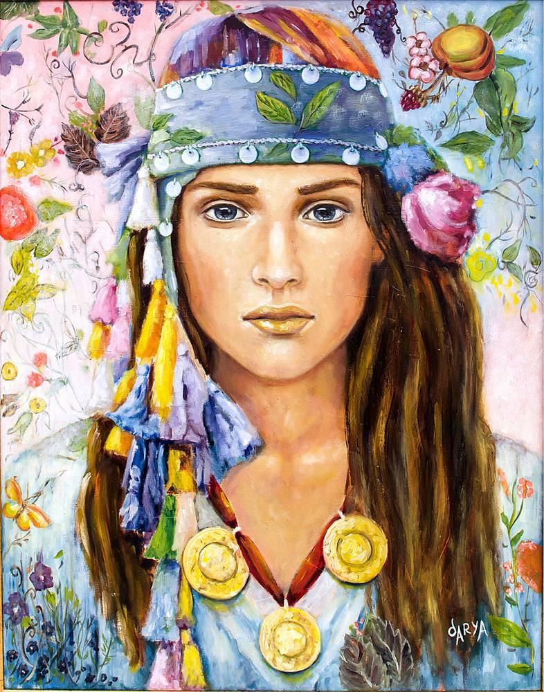 Traditional Woman, Original Paintings, , kanvas tablo, canvas print sales
