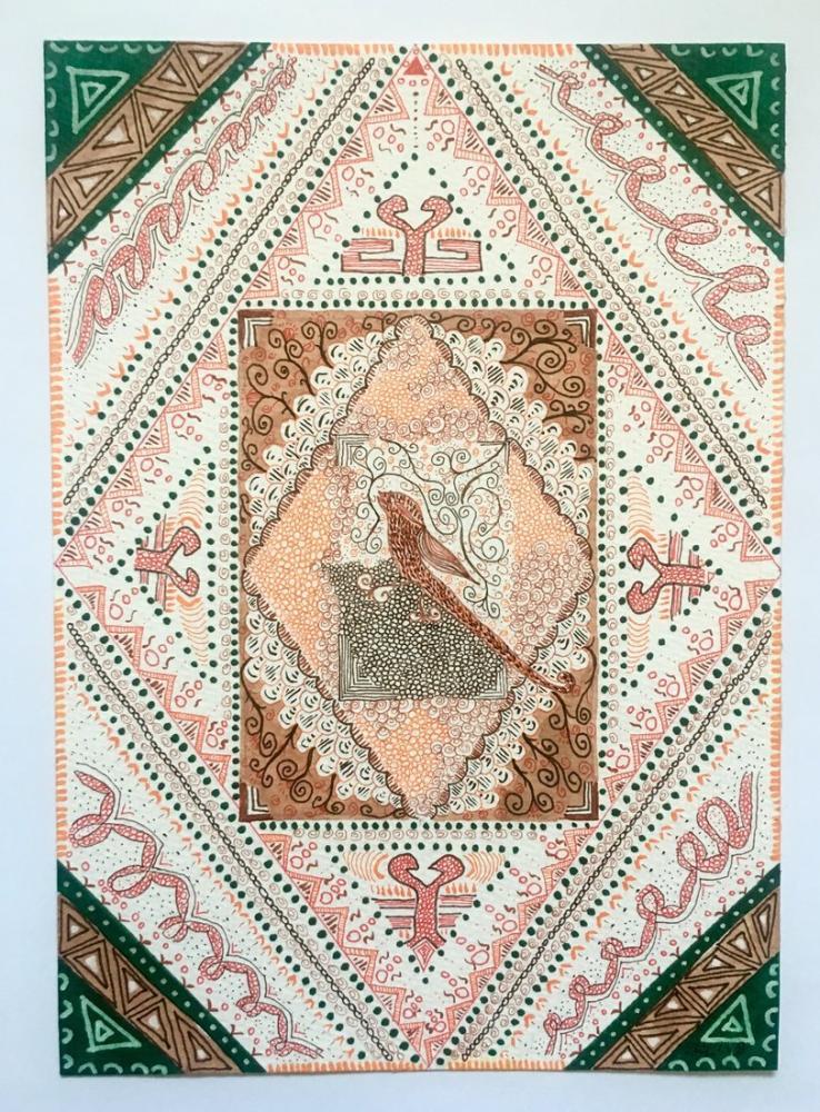 Oriental Bird Pattern, Original Paintings, , kanvas tablo, canvas print sales