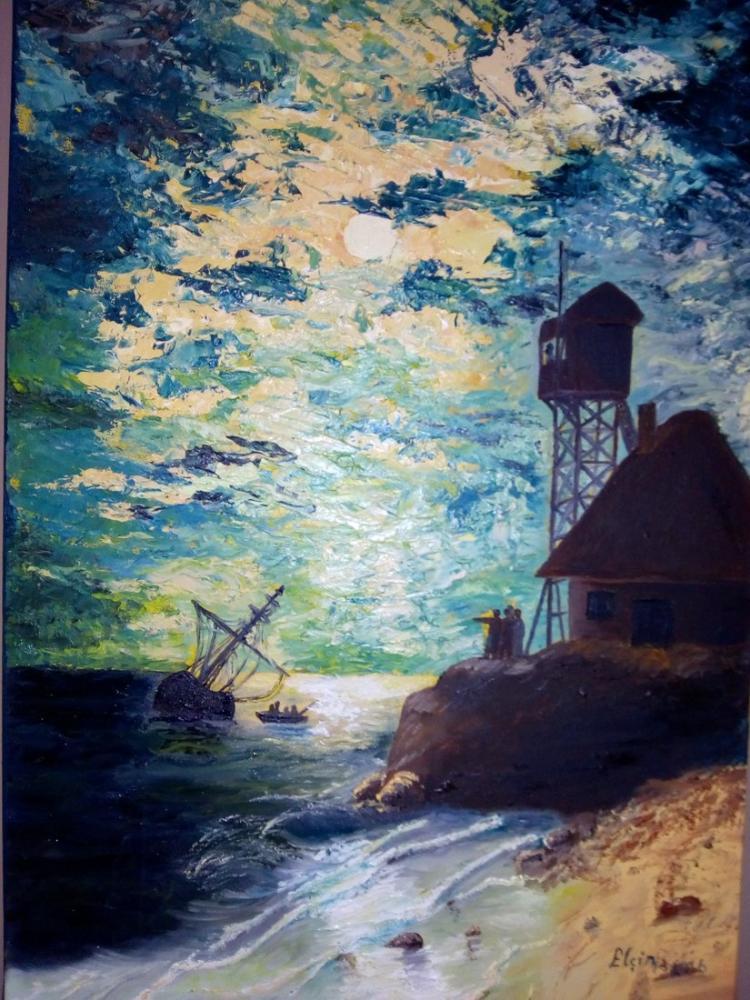 Gece, Deniz, Orijinal Tablolar, , kanvas tablo, canvas print sales