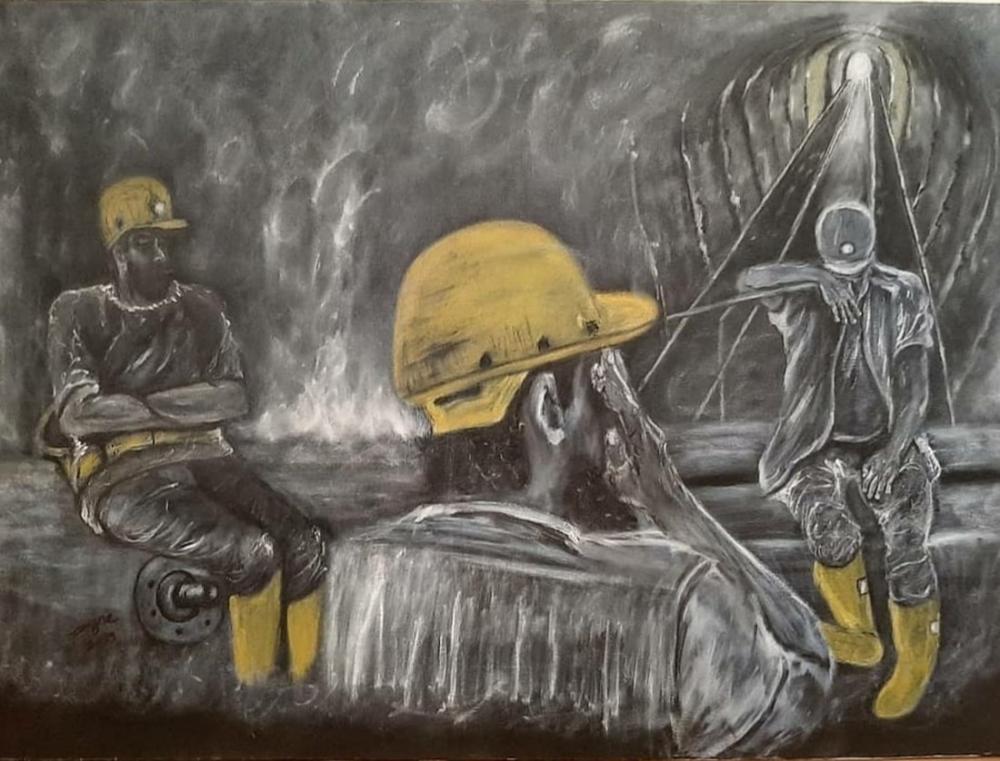 Soma mining accident, Original Paintings, , kanvas tablo, canvas print sales