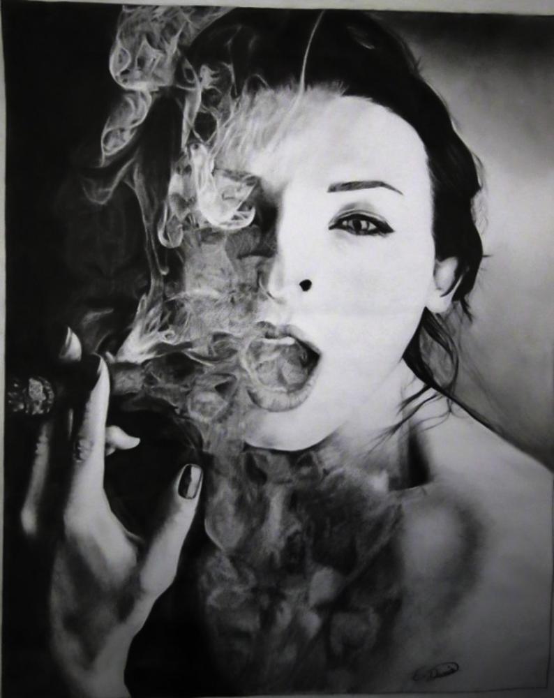 Smoke Girl, Original Paintings, , kanvas tablo, canvas print sales