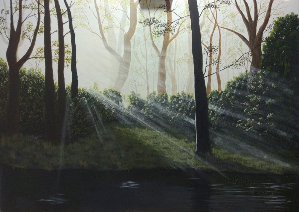 Ormanda Sabah, Orijinal Tablolar, , kanvas tablo, canvas print sales
