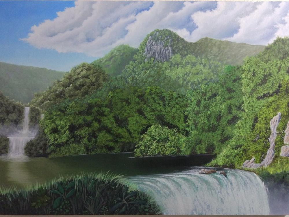 Double Waterfall, Original Paintings, , kanvas tablo, canvas print sales
