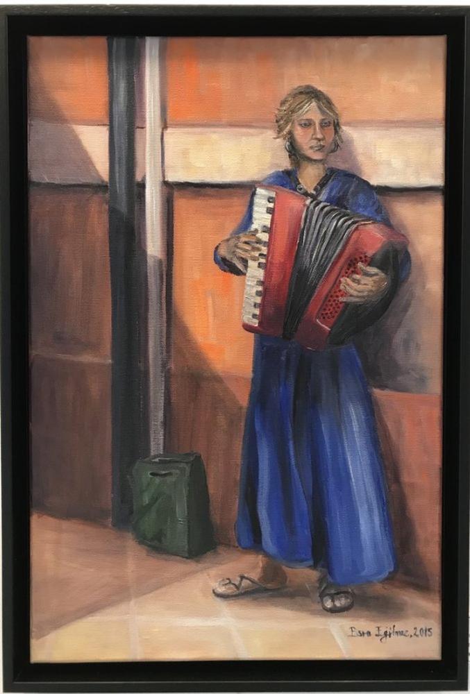 Woman Playing Accordion, Original Paintings,