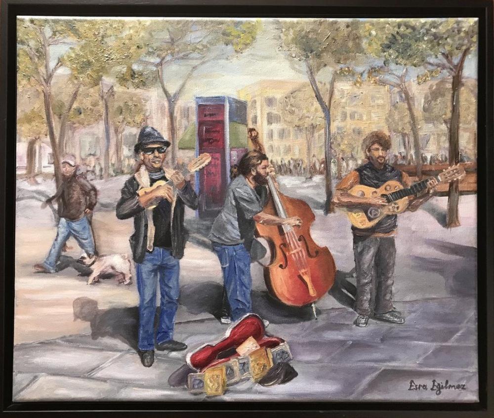 Street Musicians 3, Original Paintings, , kanvas tablo, canvas print sales