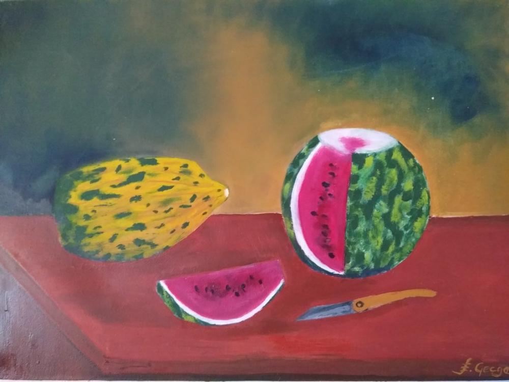 Melon, Watermelon, Original Paintings, , kanvas tablo, canvas print sales
