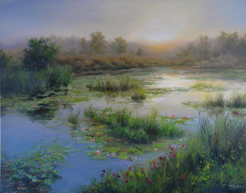Water Lilies in the Swamp, Original Paintings, , kanvas tablo, canvas print sales