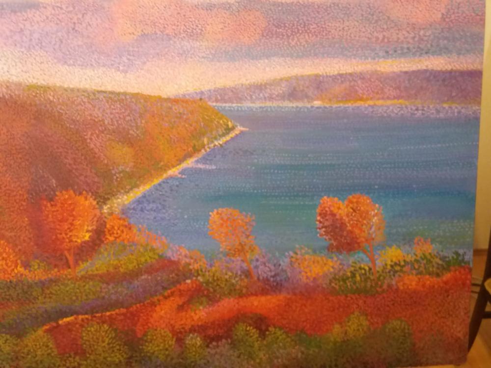 Bosphorus view in autumn, Original Paintings, Fatih Sarmanlı, kanvas tablo, canvas print sales