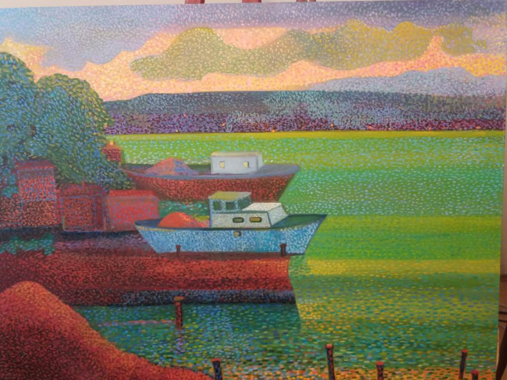 Boğazda Tekneler, Orijinal Tablolar, Fatih Sarmanlı, kanvas tablo, canvas print sales