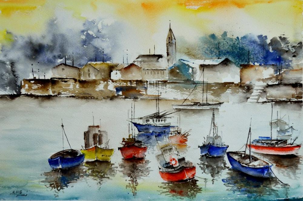 Color Boats, Original Paintings, , kanvas tablo, canvas print sales