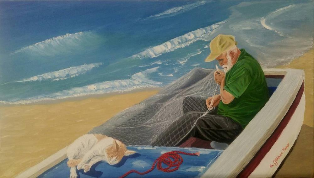Fisherman, Gökhan Yaşar, Original Paintings, Gökhan Yaşar