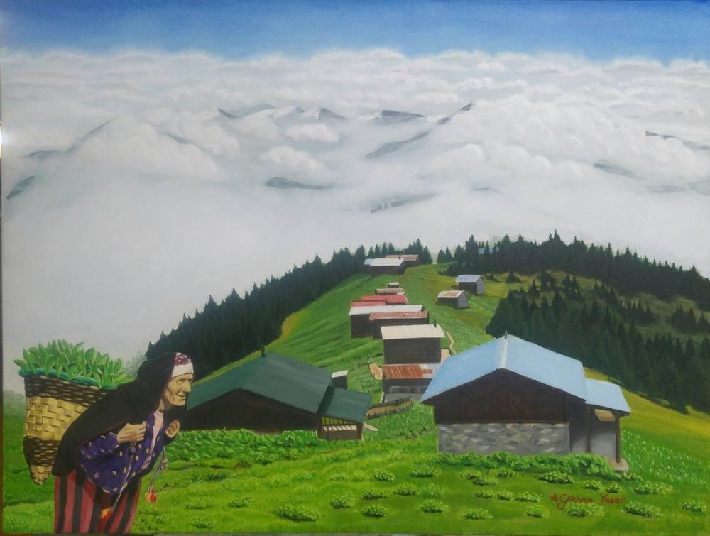Bulutların Üstünde, Yayla, Orijinal Tablo, Gökhan Yaşar