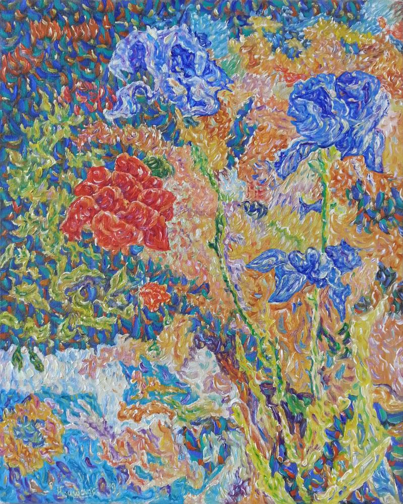 Irises and roses near the white stone, Orijinal Tablo,