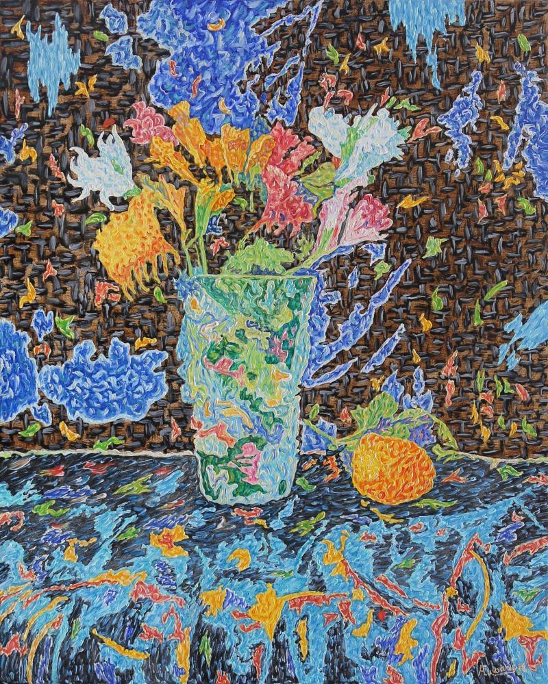 Flowers in a vase and lemon, Original Paintings,