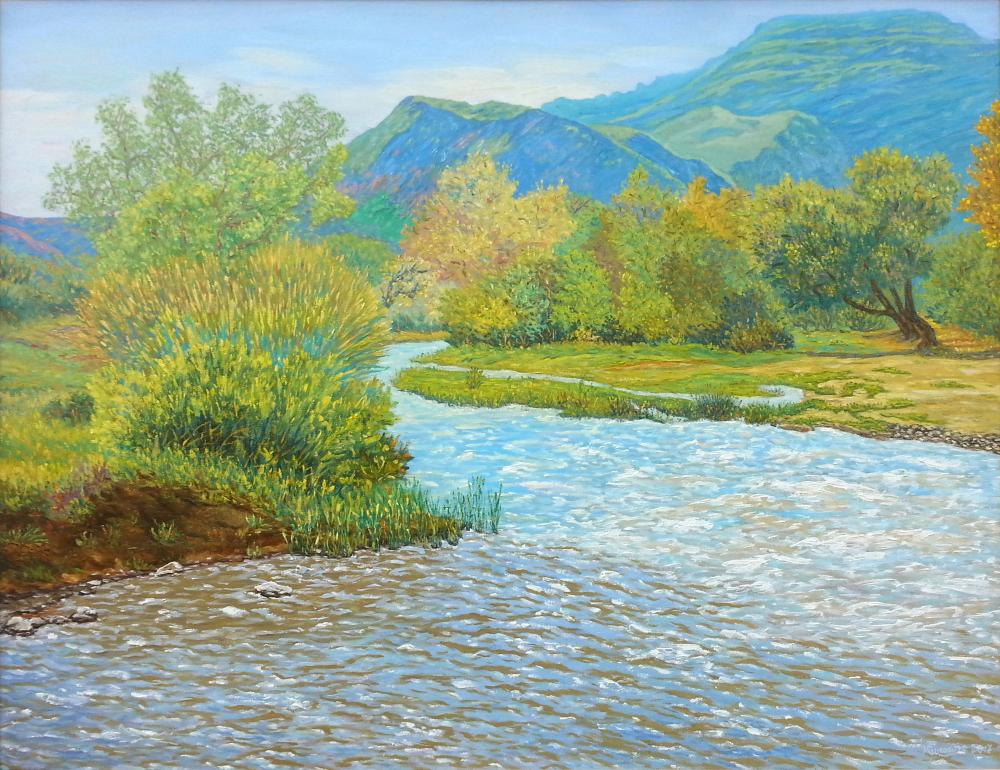 Mountain river, Original Paintings, , kanvas tablo, canvas print sales