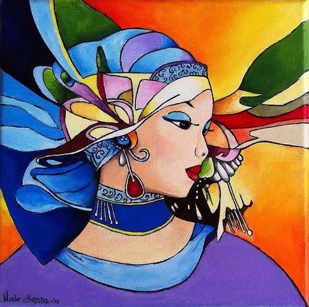 Woman With Flying Scarf., Original Paintings, , kanvas tablo, canvas print sales