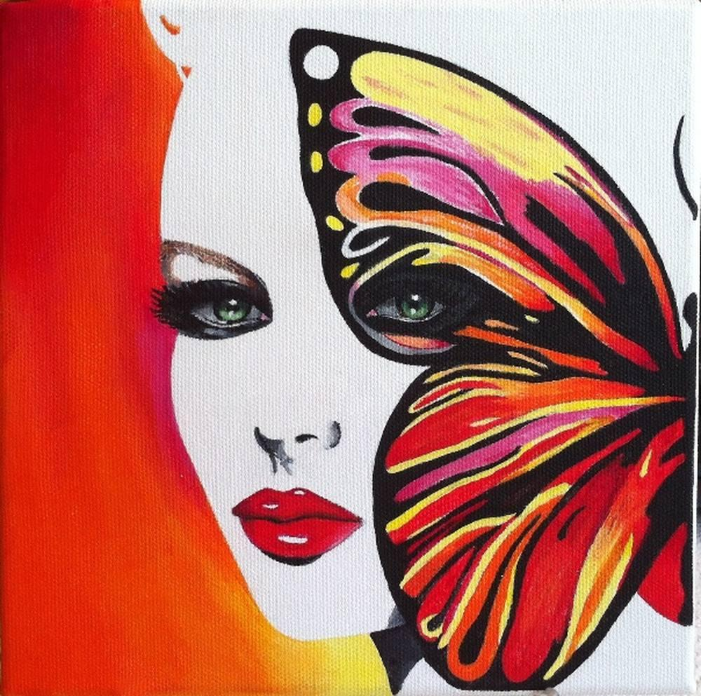 Butterfly and Woman, Original Paintings, , kanvas tablo, canvas print sales