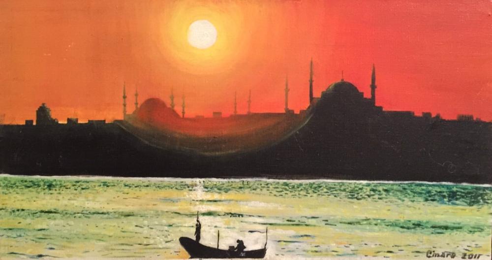 İstanbul Manzarası, Orijinal Tablolar, , kanvas tablo, canvas print sales