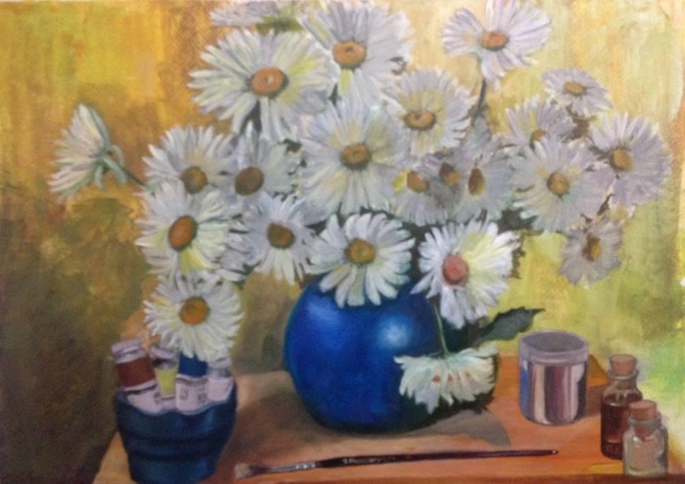 Chamomiles, Still Life Painting, Original Paintings, , kanvas tablo, canvas print sales