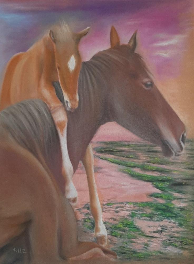 Yavrulu At, Orijinal Tablolar, , kanvas tablo, canvas print sales