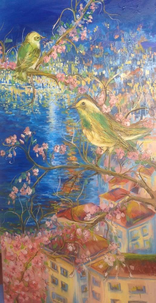 A spring evening, Original Paintings, , kanvas tablo, canvas print sales