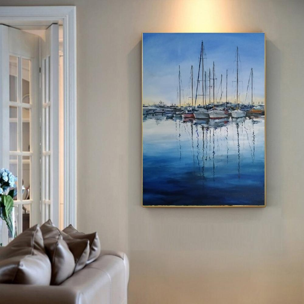 Sailing Boats in the Marina, Original Paintings, , kanvas tablo, canvas print sales