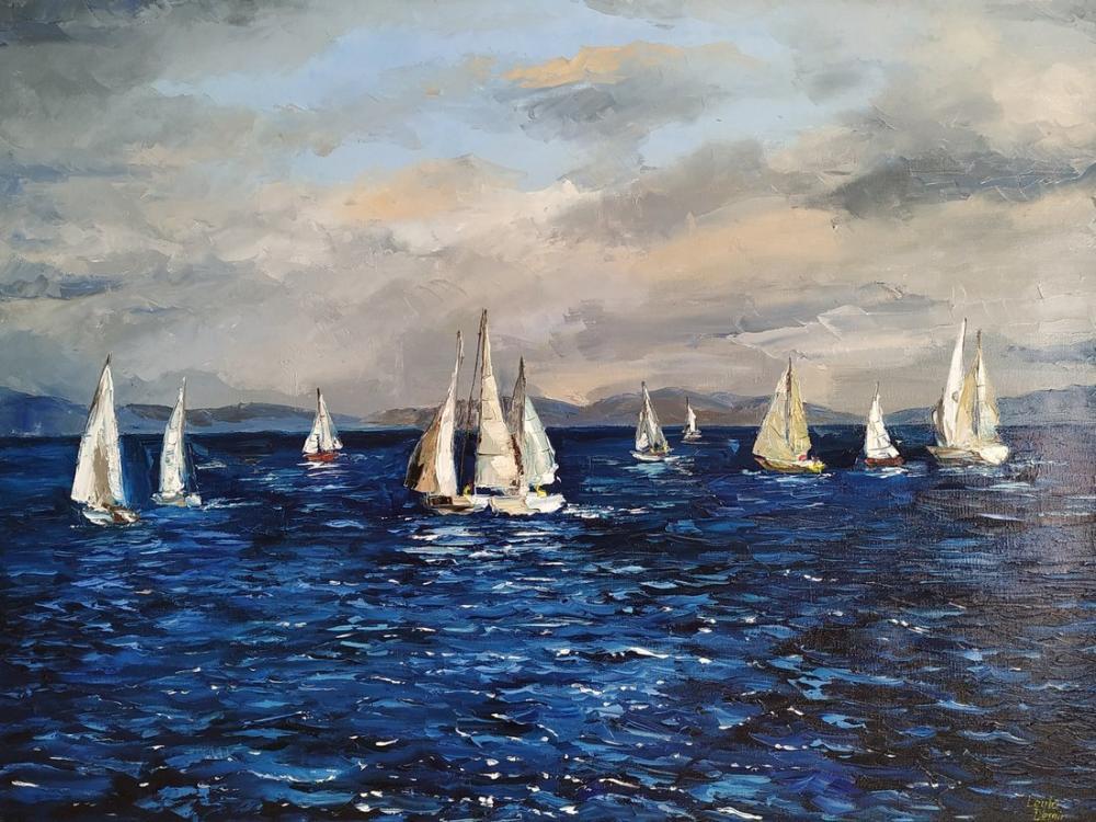 Sea and sailing boats, Original Paintings, , kanvas tablo, canvas print sales