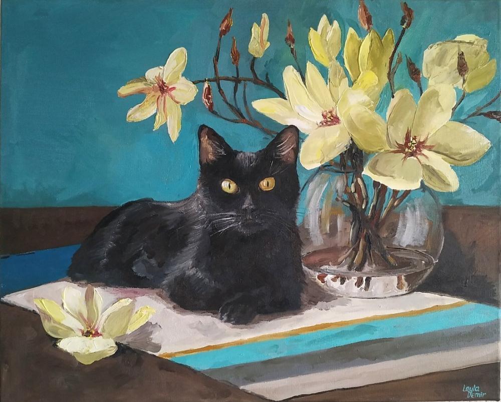 Siyah kedi, Orijinal Tablolar, , kanvas tablo, canvas print sales