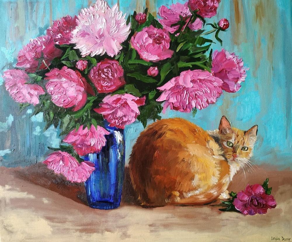 Peony and cat, Original Paintings, , kanvas tablo, canvas print sales