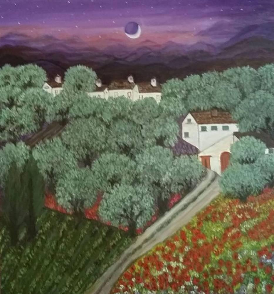 Olive Trees in Moonlight, Original Paintings,