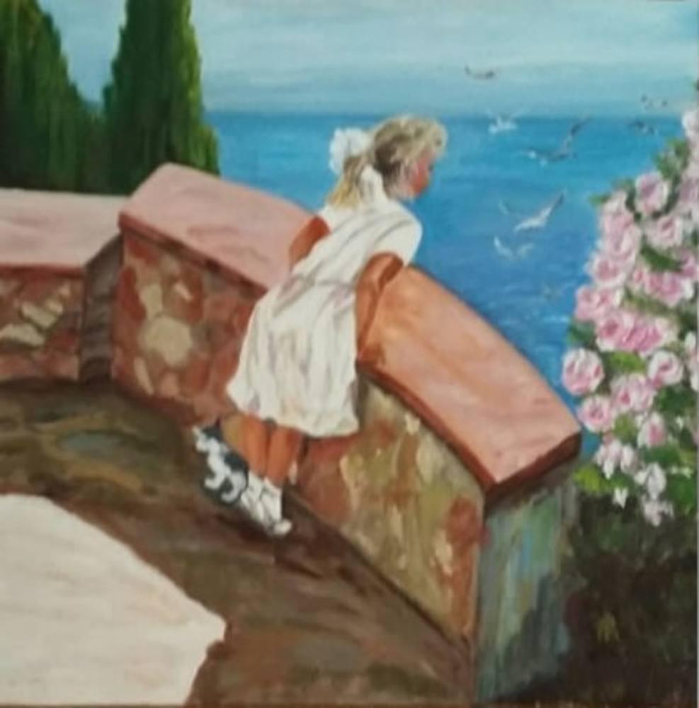 Child anda Sea, Original Paintings, , kanvas tablo, canvas print sales