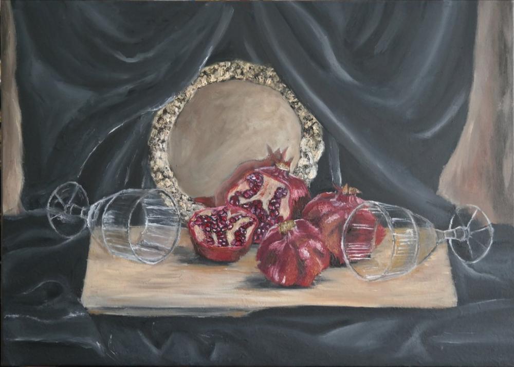 Still Life with Pomegranates, Original Paintings, , kanvas tablo, canvas print sales