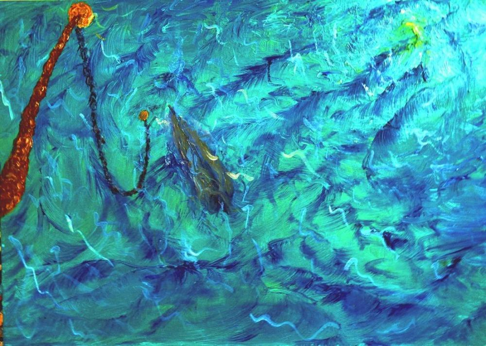 The moon under water, Original Paintings, , kanvas tablo, canvas print sales