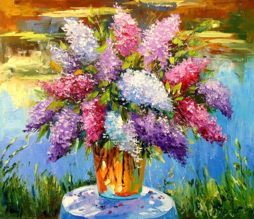 Bouquet of lilac at the pond, Orijinal Tablolar, , kanvas tablo, canvas print sales