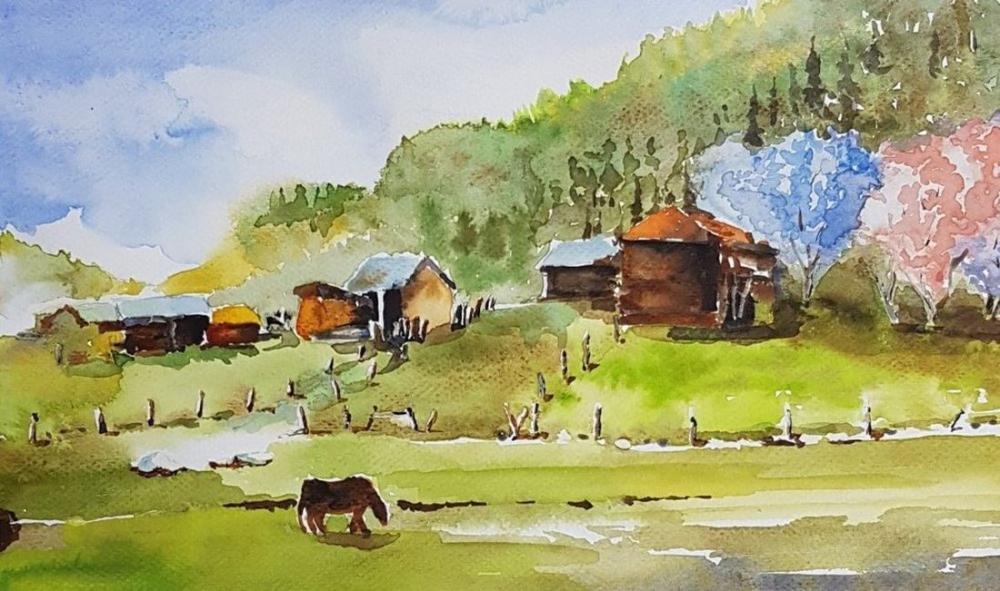 Village, Original Paintings, , kanvas tablo, canvas print sales