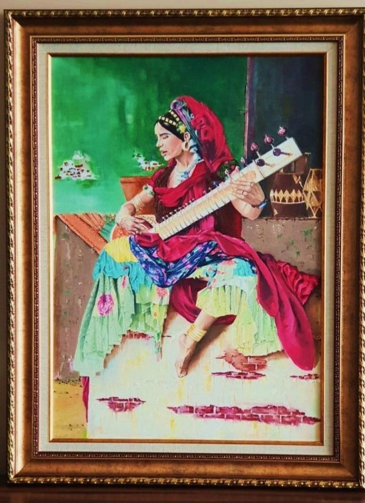 Sitar, Original Paintings, , kanvas tablo, canvas print sales
