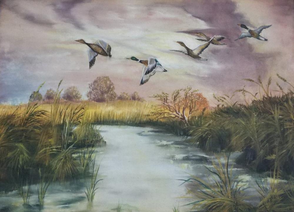 Güz Mevsiminde Ördekler, Orijinal Tablolar, , kanvas tablo, canvas print sales