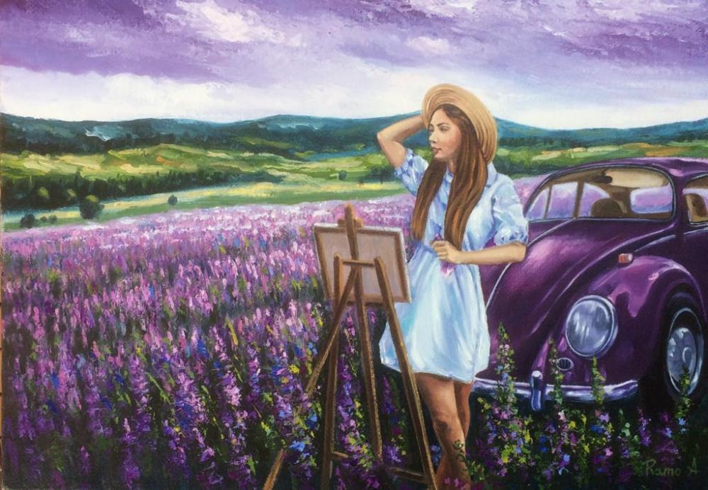 Lavender garden, Original Paintings, , kanvas tablo, canvas print sales