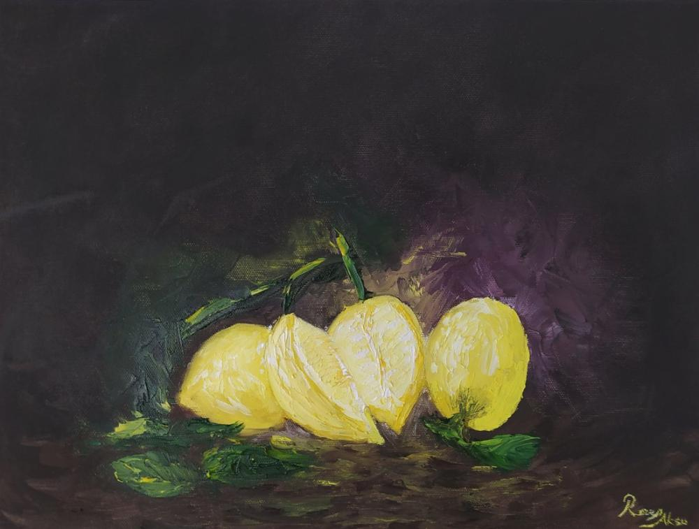 Lemon 1, Original Paintings, Recep Aksu, kanvas tablo, canvas print sales